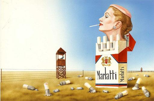 LAGER PER FUMATRICI, di A.Molino. Tempera su cartone,. Da ANNABELLA, 1985