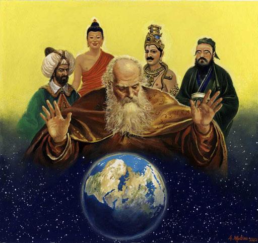 LE RELIGIONI NEL MONDO, di A.Molino. Tempera su cartone. Da FOCUS, 1998