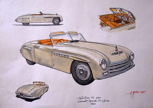 ALFA ROMEO 6c 2500 SPECIALE PININFARINA, 1946. Acquarello su carta (2017).