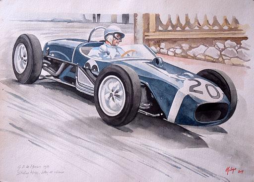 STIRLING MOSS SU LOTUS 18 CLIMAX, GP DI MONACO 1961. Acquarello su carta (2017).