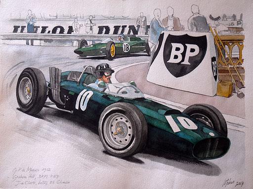 GRAHAM HILL SU BRM P57 E JIM CLARK SU LOTUS 25 CLIMAX, GP DI MONACO 1962. Acquarello su carta (2017).