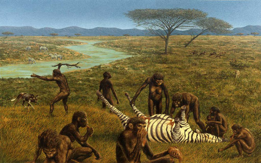 OMINIDI AFRICANI, di A.Molino. Tempera su cartone, 1989