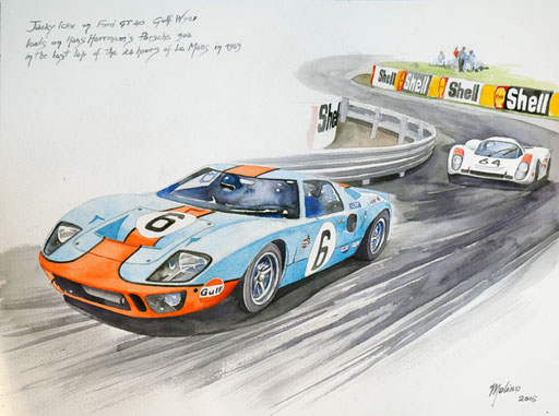 FORD GT40 VS PORSCHE 908. Acquarello su carta, 2016.