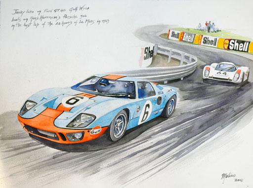 JACKIE ICKX SU FORD GT40 VS HANS HERRMANN SU PORSCHE 908 AL PENULTIMO GIRO DELLA 24 ORE DI LE MANS DEL 1969. Acquarello su carta (2016).