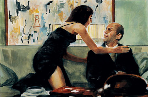 """DA """"ESSERE JOHN MALKOVICH"""", di A.Molino. Tempera su cartone. Da FOCUS, 2010"""