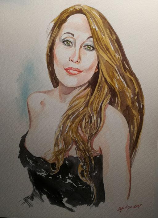 SARAH. Acquarello (28x38 cm), 2017.