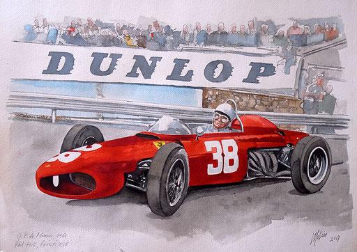 PHIL HILL SU FERRARI 156 AL GP DI MONACO 1961. Acquarello su carta (2017)..