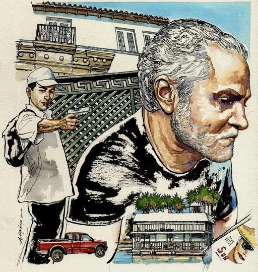 15 LUGLIO 1997: ANDREW CUNANAN SPARA A GIANNI VERSACE SULLE SCALE DELLA SUA VILLA A MIAMI BEACH, di A.Molino. Ink on paper. Da OGGI, 2009