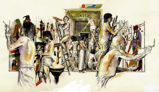 PITTORI EGIZIANI INTENTI ALLA DECORAZIONE DELLA TOMBA DI RAMSES II, di A.Molino. Ink on paper. Da AIRONE, 1995