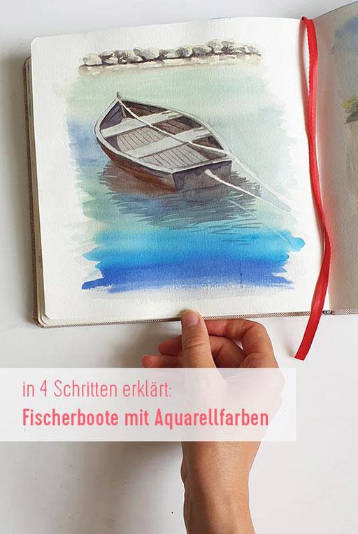 aquarell malen lernen, boote malen, wie malt man Boote mit Aquarellfarben, Aquarellkurs, Malkurs, Malen lernen, Wasser malen