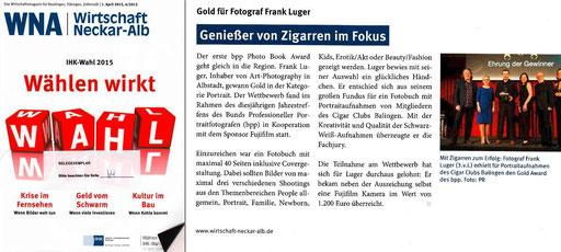 Frank Luger gewinnt Gold mit Portraits des Cigar Club Balingen!