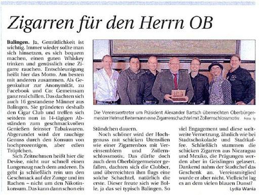 Der Cigar Club Balingen zu Besuch bei OB Reitemann