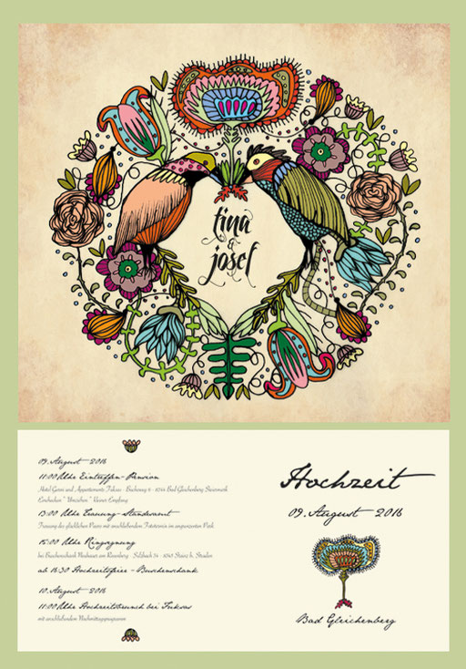 tina&josef wedding invitation* 2016 illustration and graphic design by visob flower birds color retro shabby classic