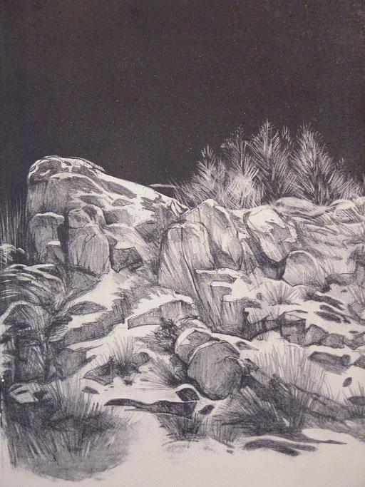 Schneebedeckte Felsen, Litografie