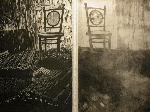 xilografía, grabado de aguafuerte y aguatinta