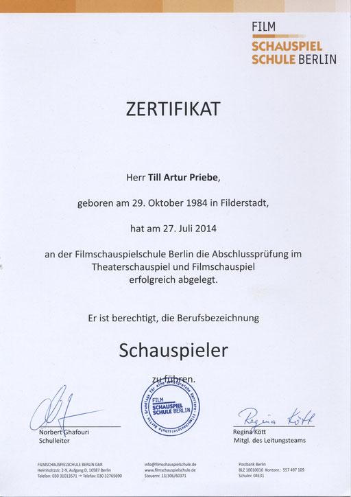 Abshluss - Zertifikat
