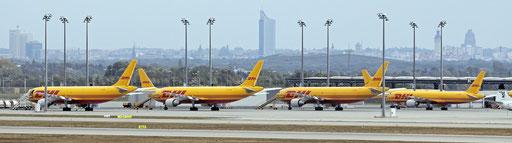 Blick über das DHL-Frachtzentrum zur Leipziger Innenstadt (Foto: Uwe Kragl)