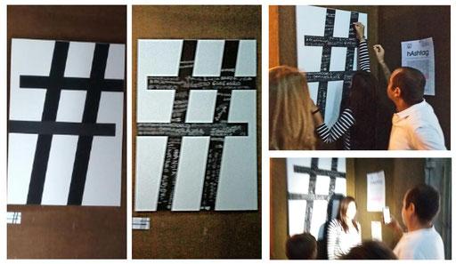 """una rielaborazione grafica di paralleli e meridiani che intersecati tra loro, non solo formano il quadrato dei Quatro Canti, sede dell'expo IN HOC SIGNO a Palazzo Costantino, Ma ricorda il segno """"#"""" ovvero un hashtag. L'arte dunque canale di condivisione."""