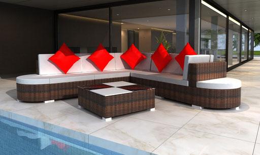 divano rattan giardino polyrattan midollino