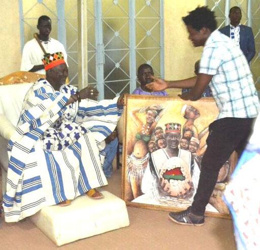 recu le samedi 10 Mars 2017 chez le MOOG NAABA chef supreme des Mossi au BURKINA FASO peinture huile sur toile 100x100cm
