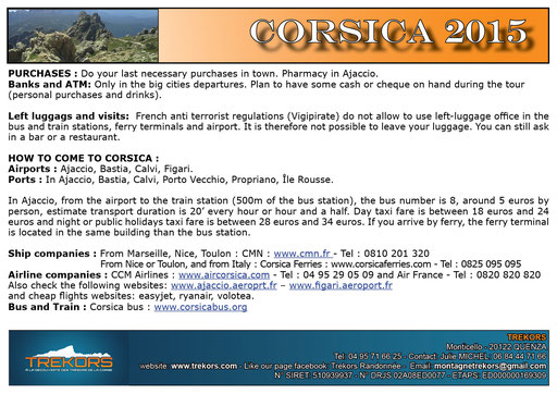 further information for your hiking trip in corsica