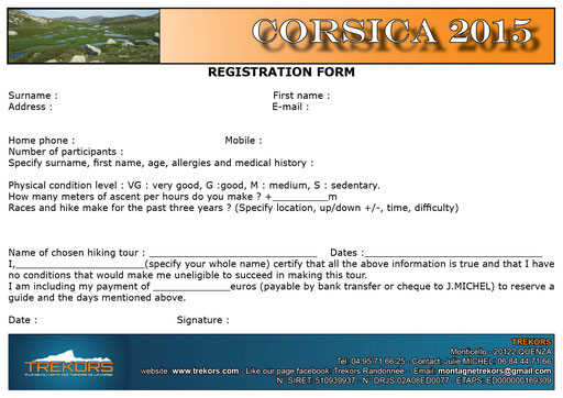 how to register for a hiking tour in corsica with a local mountain guide