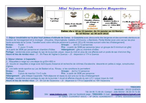 mini séjours et week ends raquettes à neige en Corse