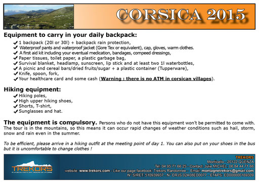 equipment and backpack to hike in corsica