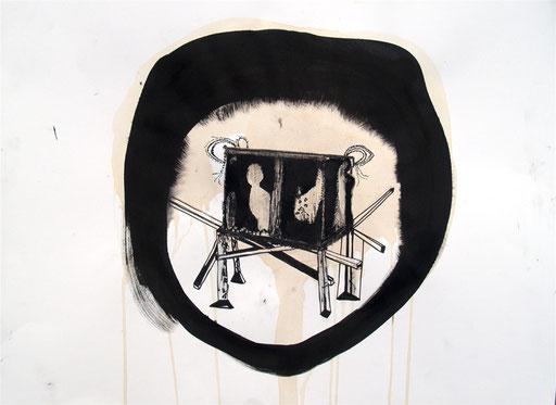 ohnetitel, 2013, Tusche und Crayon auf Papier, 42 x 60 cm