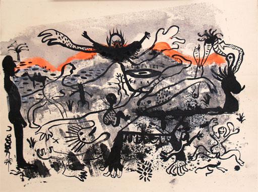 ohnetitel , 2015, Tusche und Acryl auf Papier, 60 x 70 cm