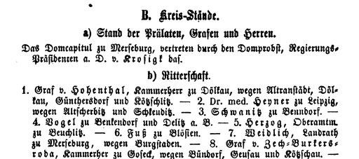 Ausschnitt aus dem Handbuch für die Provinz Sachsen 1854, S.239, Emil Bensch Verlag