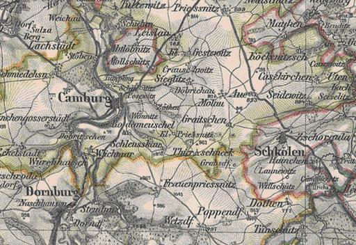 Kartenausschnitt Camburg [landkartenarchive.de]