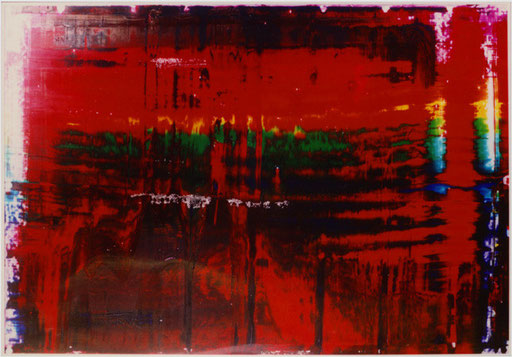 Nr.108  2002  'ohne Titel 12-farbig, abgerakelt, parallel  Druckfarbe auf Aluminium  70 x 100 cm