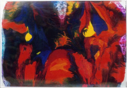Nr.081  1999  Unter Druck Sandwich aus Acryl, Druckfarbe, Aluminium  70 x 100 cm