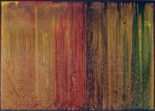 Nr.058  1995  Staub auf einem Palettendeckel  Druckfarbe auf Spanplatte  64 x 90 cm