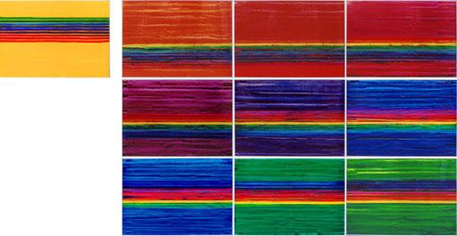 """Nr.118  2004  """"Pantone Orange...""""  Druckfarbe auf Aluminium  70 x 1000 cm"""