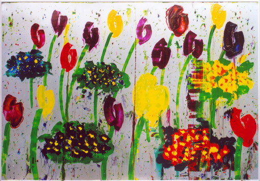 Tulipes et Primevères  encre d'imprimerie sur aluminium