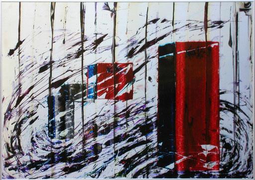 "Nr.129  2005  ""Danke Greystone""  Druckfarbe auf Aluminium  70 x 100 cm"