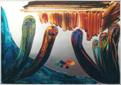 """Nr.020  1992  """"Herbert Grönemeier in der Sauna""""  Druckfarbe auf Aluminium  70 x 100 cm"""