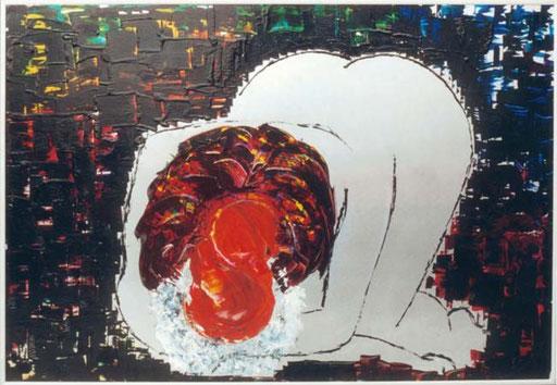 Nr.021  1992  I Love You  Druckfarbe auf Aluminium  70 x 100 cm