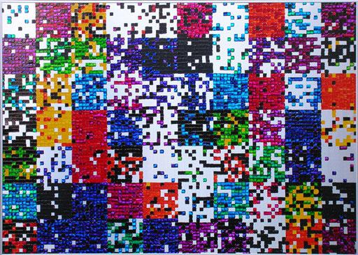 Nr. 130 2005  Zufallsfarbfelder 10x10  Druckfarbe auf Aluminium  70 x 100 cm