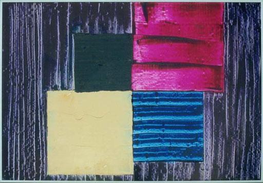 Nr.025  1993  Frauenfarben  Druckfarbe auf Aluminium  70 x 100 cm