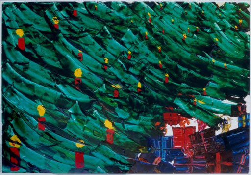 Nr.076  1998  Weihnachten  Druckfarbe auf Aluminium  70 x 100 cm