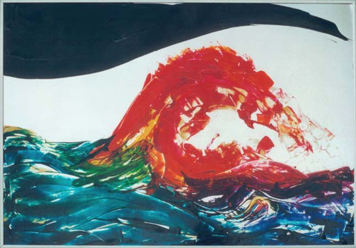 Nr.024  1992  Pink Tsunami  Druckfarbe auf Aluminium  70 x 100 cm