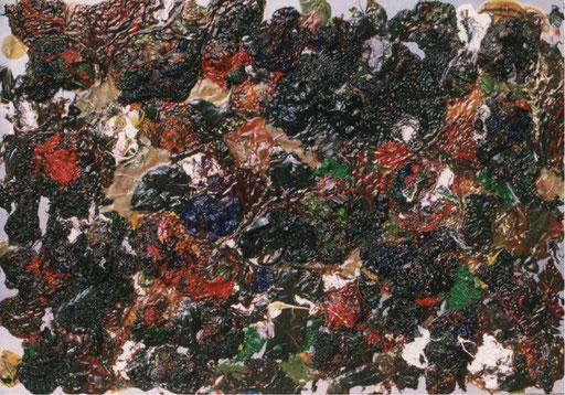 Nr.102  2001  ohne Titel  Druckfarbe auf Aluminium  70 x 100 cm