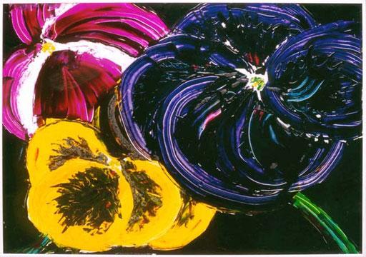 Nr.027  1993  Stiefmütterchen nachts auf dem Balkon  Druckfarbe auf Aluminium  70 x 100 cm