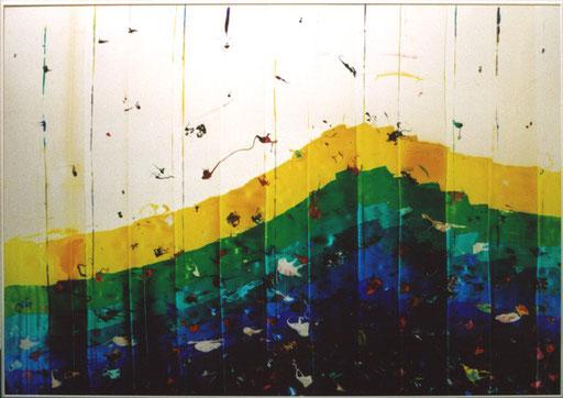 Nr.117  2004  Life in the Cambrian Sea  Druckfarbe auf Aluminium  70 x 100 cm