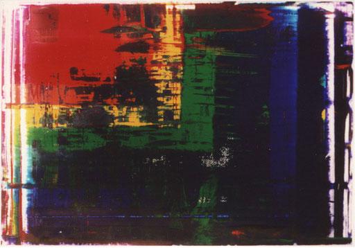 Nr.109  2002  'Ohne Titel 12-farbig, abgerakelt, gekreuzt  Druckfarbe auf Aluminium  70 x 100 cm