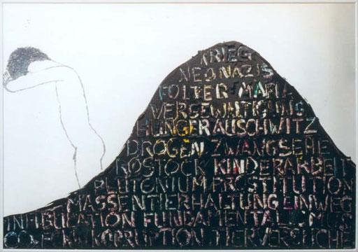 Nr.022  1992  Manchmal schäme ich mich, ein Deutscher, ein Mann, ein Mensch zu sein.  Druckfarbe auf Aluminium.     70 x 100 cm