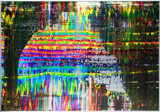 Nr.128  2005  ohne Titel  Druckfarbe auf Aluminium  70 x 100 cm